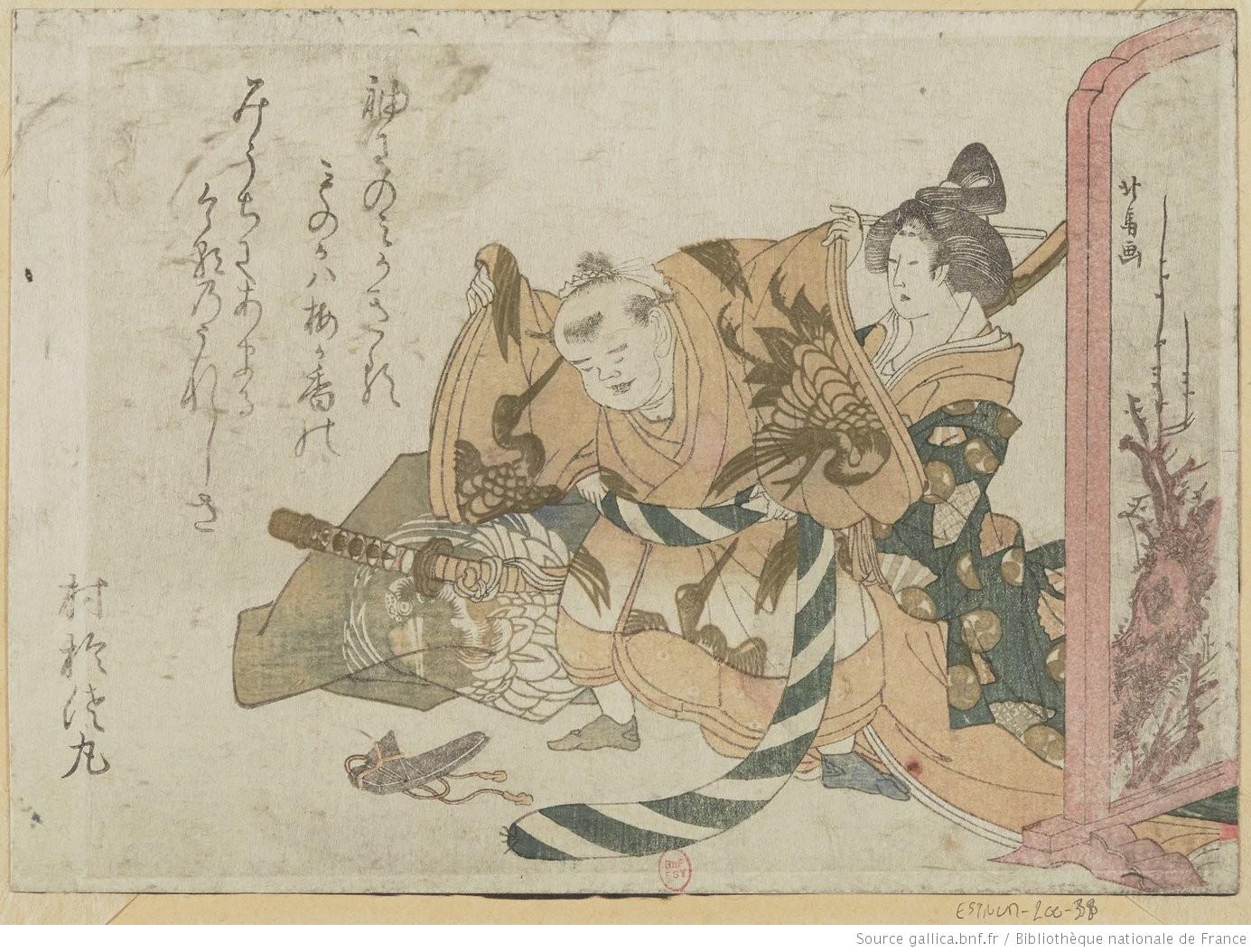 Estampe représentant un enfant habillé comme un guerrier par une femme